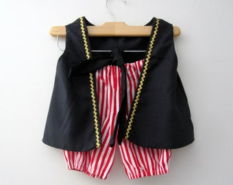 Pirate Boy Vest Knickers and Sash (red and white knickers pick the color sash)