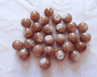 27  CoCoa Brown Veined Round Glass Beads  8mm