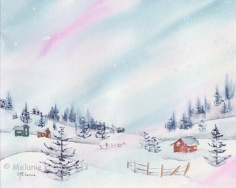 Snowy Winter Village ORIGINAL trees woods sunset landscape watercolor painting by Melanie Pruitt EBSQ SFA
