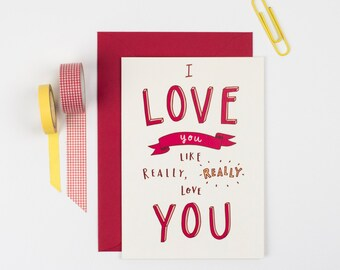 Love/Valentine/Anniversary card -Valentine's card - Valentine's day card - Valentines card for boyfriend, uk
