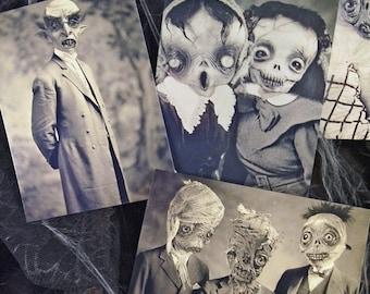 Set of 5 original Postcards -Set Halloween - monsters mummy zombie horror ghost scarecrow witches skull nosferatu vampire freak  art doll