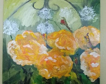 Abstract yellow roses in garden