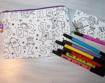"Coloring for kids, washable, original and unique, pattern ""alphabet letters"" Kit"