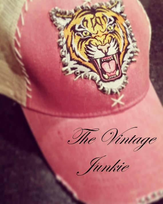 The Vintage Junkie...Pink Distressed Trucker Hat with Hand Stitched Tiger Applique and Silver Studs