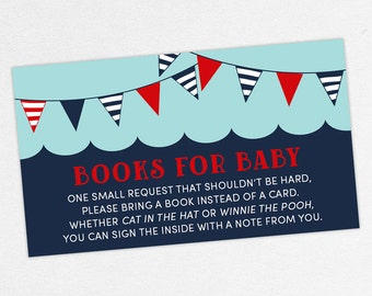 INSTANT DOWNLOAD Books for Baby Card, Baby Shower Books for Baby, Books for Baby PDF, Diy, Nautical Shower, Whale Shower, Red, Navy, Ahoy