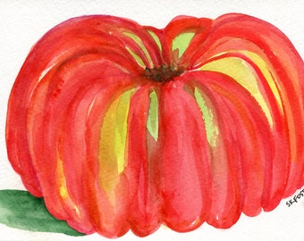 Tomato watercolor painting original 5 x 7 original watercolor of heirloom tomato, kitchen decor, tomato illustration, SharonFosterArt