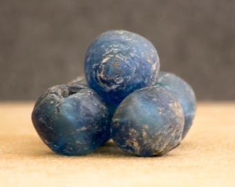 Five Deep Blue Antique Mali Glass Beads