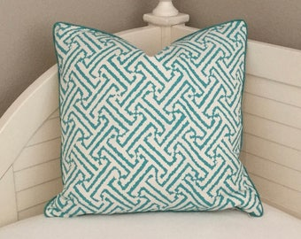 Quadrille China Seas Java Grande Turquoise on White Designer Pillow Cover With or Without Tiny Piping- Square, Euro and Lumbar Sizes