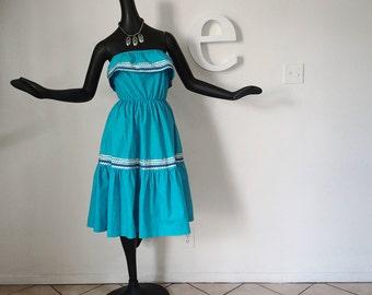 Vintage 80s Southwest Indian Dress Strapless Ruffled Rickrack Trim Festival Dress Turquoise Blue Southwestern Swing Dance Hippie Boho Dress