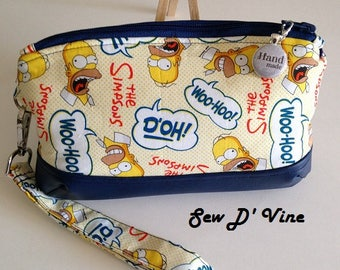 MOTHERS DAY Special, free* postage Simpson, Homer, Clematis, Clutch Zipper, Clutch, Wallet, Pouch Zipper, Wristlet, Removable Strap