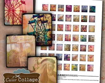 Carnival, Scrabble Tiles, Collage Sheet, Digital Scrabble, Scrabble Images, Printable Ephemera, Hot Air Balloon, Digital Collage