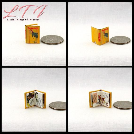 1:24 Scale Book PINOCCHIO Miniature Dollhouse Illustrated Book Half Scale
