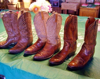 Cowboy Boots,  Western Boots,  Leather Boots,  Lizard Boots,  size 9.5 D