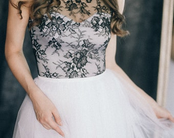 Black and white wedding dress - Colored non-traditional bridal gown - Black boho lace and tulle bridal gown - Modern alternative gown - MAY