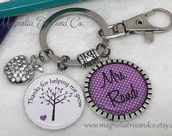 PERSONALIZED TEACHER Key Chain, Necklace, Helping Me Grow, Gift, School, Supply, Educational Assistant, Principal, Teacher Aide, Nanny MT01