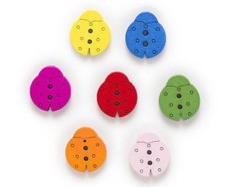 13 Ladybird Buttons 15mm x 16mm