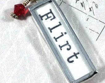 Flirt Necklace, Word Pendant, Valentines Jewelry