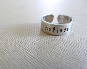 Believe Ring - Personalized Hand Stamped Ring - Skinny 1/4 Band