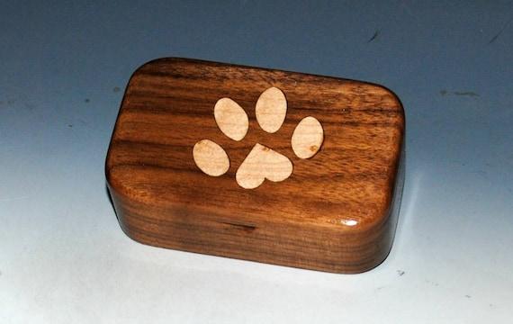Pet Paw Print Wood Box -Birdseye Maple Inlay & Walnut - Dog Paw Box, Paw Print Box, Wood Box, Wooden Box, Pet Box, Dog Box, Cat Box, Boxes