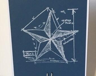 Patriotic Star Blueprint Card