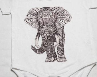 tribal elephant baby onesie bos-24
