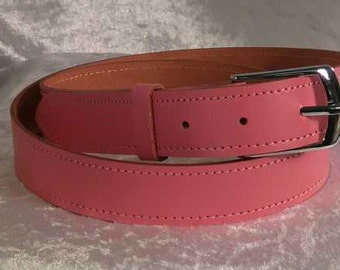 Pink leather belt with 30mm nickel buckle Made to Order