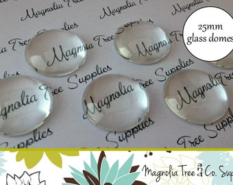 25mm round glass domes, glass domes, round clear glass, glass cabochon, glass tiles, 10 or 25 pcs (GD125/GD126)