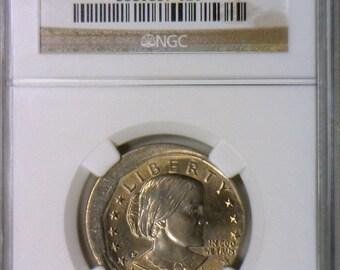 1979-P Susan B. Anthony Dollar Struck 10% Off-Center Mint Error; NGC MS-64