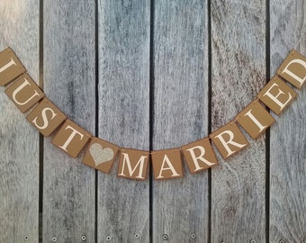JUST MARRIED banner, wedding banner, wedding sign, just married sign, wedding decorations, just married car sign, car banner