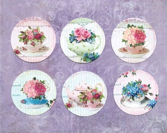 Sticker Seals Assorted Flowers & Teacups 18 pcs Shabby Style