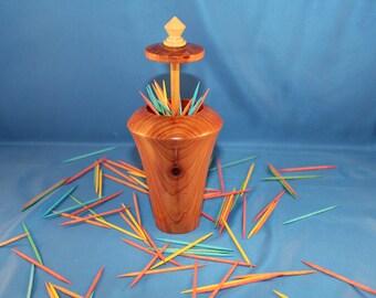 Unique Wooden Toothpick Holder / Dispenser (Cedar Wood) # 37