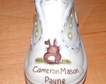 Personalized Bunny Baby Shoe Keepsake