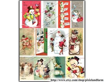 Snowman Gift Tags Vintage Printable Digital Download