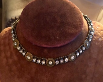 antique art deco flapper choker collar necklace with metalwork and rhinestones