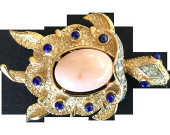Trifari Turtle with Faux Lapis and Coral Cabochons. 1960's.