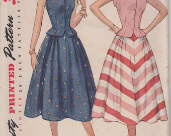 Bust 32-FACTORY FOLDED 1950's Misses' Two-Piece Dress Simplicity 3582 Sz 14