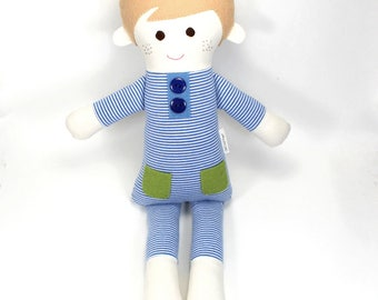 soft jersey doll | Gulliver snuggle doll | blue and white striped jersey cloth doll | boy rag doll |handmade doll | boy present