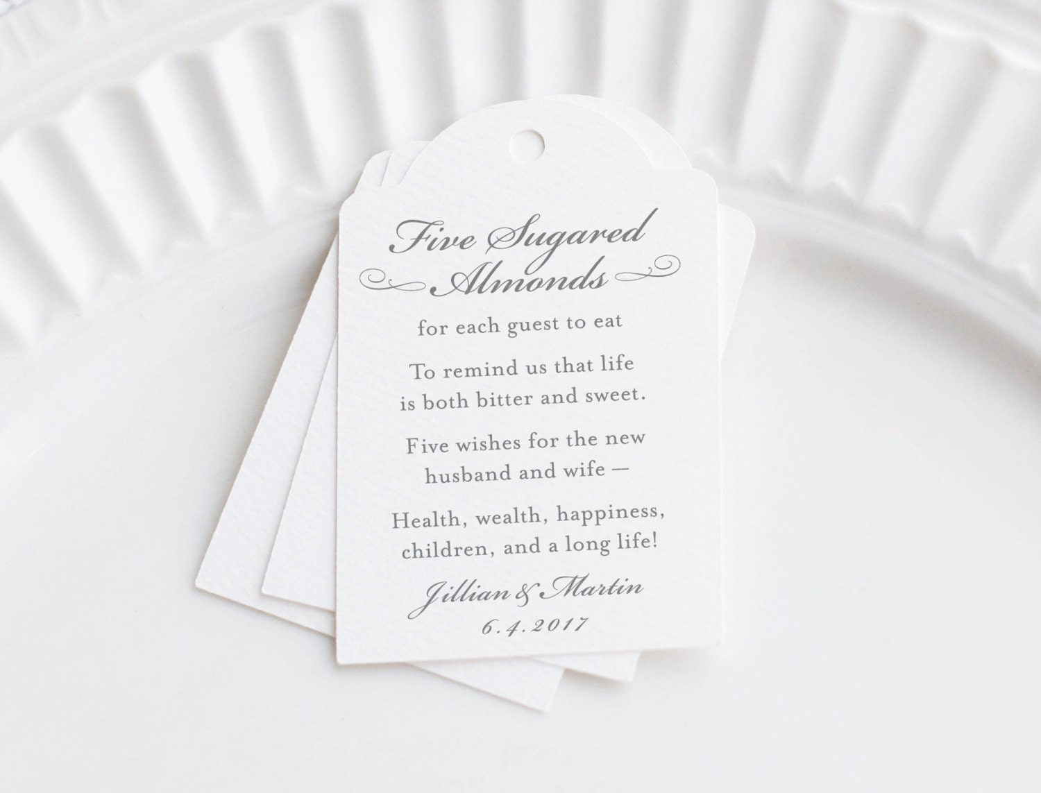 Almond Wedding Favor Tag Personalized Gift Tags Five Sugared