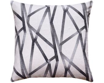 Designer Charcoal Gray Ivory Global Modern Stripe Lines Pillow Cover, Geometric Pillow Cover,  Euro Sham, Same Fabric Both Sides, Boho Cover
