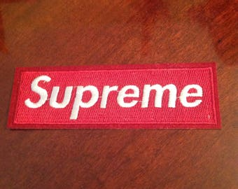 """4.5"""" Supreme iron on red embroidered patch Free usa shipping!"""