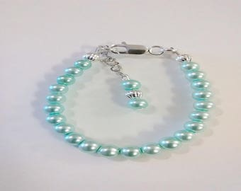 Childrens/Newborn/Toddler sterling silver filled blue pearl bracelet