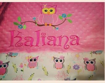 Owl baby gift etsy owl baby blanket owl personalized blanket personalized baby gift baby blanket pink negle Choice Image