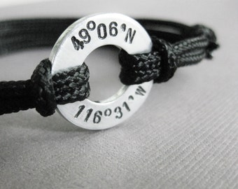 Custom Coordinates Bracelet, Small Aluminum Disc with Stamped coordinates and adjustable paraline cord, Men's or Women's, GPS, Long distance