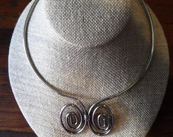Vintage 70's Silver Tone Metal Swirls Collar / Choker NECKLACE From London, Bought in the 90's