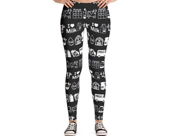 I Love Milk Cows Black and White Icons Leggings