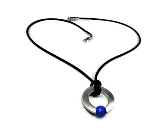 Men's Necklace with Lapis Lazuli Tension Set in Stainless Steel
