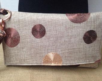 Bronze Circle Wristlet/Clutch Bag - Ready to Ship - 100% Handmade