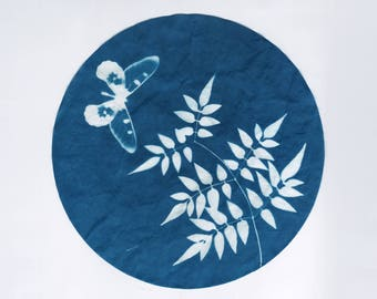 Botanical Art, original cyanotype, butterfly and pressed plant