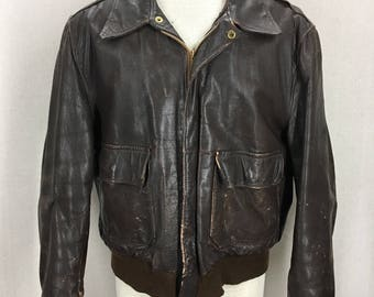 Vintage 50's Brown Leather A2 Air Force Flight Jacket Fits like a 42/44