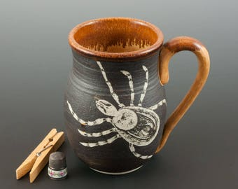 Tick and Deer - Predator and Prey Mug - Handmade stoneware pottery, one of a kind, textured surface decoration